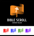 biblical scroll with a cross in the center logo vector image vector image