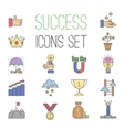 Business success icons set isolated on vector image vector image