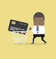businessman with credit card in shopping cart vector image vector image