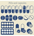capsules and pill icon set vector image vector image