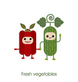 Cartoon Cute smiling vegetables cucumber pepper