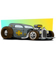 cartoon retro vintage gray hot rod racing car vector image