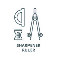 compass sharpener ruler line icon vector image vector image