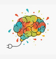 creative art idea concept brain as light bulb vector image