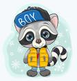 cute cartoon raccoon in a yellow waistcoat vector image vector image