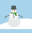 cute snowman with hat green scarf and hands from vector image