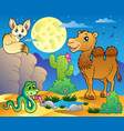 desert scene with various animals 3 vector image vector image