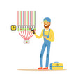 electrician testing electrical equipment vector image vector image