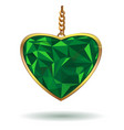 emerald heart in a gold frame vector image vector image