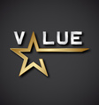EPS10 value golden star inscription icon vector image vector image