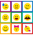 flat icon emoji set of cheerful tears caress and vector image vector image