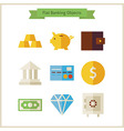 Flat Money and Banking Objects Set vector image