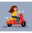 Girl sitting on scooter vector image vector image