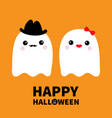 happy halloween ghost spirit family couple with vector image