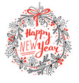 Happy new year card festive wreath fir