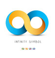 infinity symbol gold and blue endless icon vector image vector image