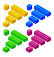 isometric plastic toy blocks isolated on white vector image vector image