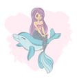 joking mermaid cartoon travel tropical vector image vector image