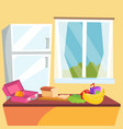 kitchen cartoon classic home dining room vector image vector image