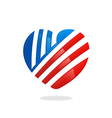 love heart stripe logo vector image