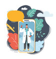 male doctor on smartphone vector image vector image