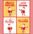 merry christmas posters set santa claus adventures vector image