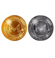 monero gold and silver coins vector image vector image