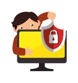 monitor desktop computer with security system vector image