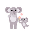 mother koala and its bacute animal family vector image