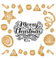 ornate merry christmas lettering with new vector image vector image