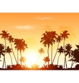 Palms silhouettes at orange sunset sky vector image vector image