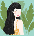 portrait a girl with long black hair vector image vector image