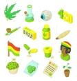 Rastafarian icons set cartoon style vector image vector image
