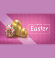 realistic easter egg banner greeting banner vector image vector image
