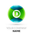realistic letter d logo symbol in colorful circle vector image vector image
