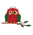 red owl on white background vector image vector image