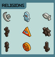 Religions color outline isometric icons vector image