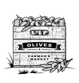 retro crate olives black and white vector image vector image