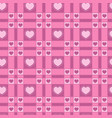 seamless pattern with a plaid and pink hearts vector image