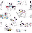 seamless pattern with cute dogs demonstrating bad vector image