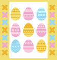 set of colored isolated easter eggs on a white vector image