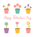 Set of flowers in pots Happy Valentines Day vector image