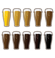 Set of glasses with different varieties of beer vector image vector image