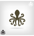 silhouette an octopus on light background vector image vector image