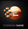 silver letter e logo gold dots splash and bubble vector image
