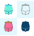 soup warmer icon set in flat and line styles vector image