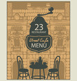 template street cafe menu with table for two vector image vector image