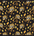 tiger and chain gold pattern fashion spotted wild vector image vector image