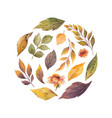 watercolor card with autumn leaves
