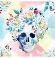 Watercolor skull pattern vector image vector image